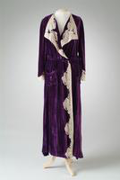Silk Velvet Wrap Robe with Lace Collar and Cuffs, 1935