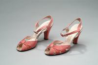 Satin Shoes with Silver Leather and Rhinestone Buckles, 1938
