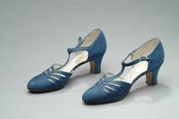 Blue Satin Shoes with Ankle Straps, 1936