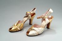 Lame and Satin Open Toe Evening Shoes, 1935