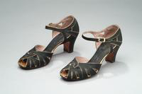 Silk Evening Shoes with Ankle Straps and Gold Buckles, 1937