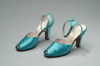 Open Toe Satin Shoes with Rhinestone Buckles, 1940