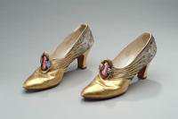 Gold Lame Shoes with Rhinestone Buckles, 1928