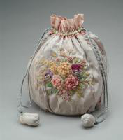 Embroidered Lavender Pouch Bag with Drawstring Closure, 1928