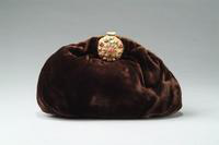 Brown Velvet Bag with Jeweled Clasp, 1930