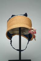 Child's Natural Straw Bonnet with Silk Taffeta Crown, 1922