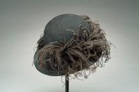 Felt Derby-Cut Slouch Hat Accented with Ostrich Feathers, 1930
