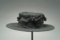 Crepe Mourning Hat with Flowers and Berry Accents, 1920