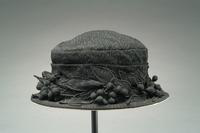 Crepe Mourning Hat with Small Brim with Flowers and Berry Accents, 1920