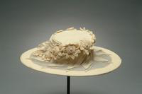 Mourning Hat with Wide Brim Accented with Chiffon Flowers and Leaves, 1920