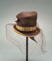 Straw Hat with High Crown, Grosgrain Ribbon, and Veil, 1942
