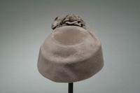Felt Cloche Hat with Upturned Brim, Felt Flowers, and Veil, 1933