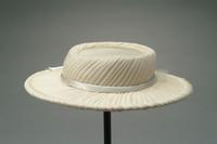 Silk Hat of Gathered Crepe with Satin Ribbon and Veil, 1938