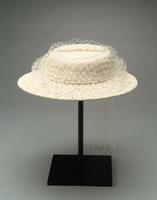 Smocked Twill Hat with Dotted Veil, 1938