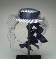 Striped Silk Hat with Satin Ribbon and Veil, 1943