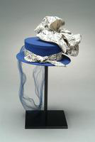 Crepe Hat Accented with Veil and Silk Print Fabric, 1943