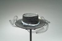 Textured Straw Hat with Large Rose Accent and Veil, 1942