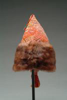Wool Tapestry Fabric Hat with Accents of Fringe, Tassel, and Mink.