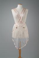 Sheer Tea Apron with Ribbon Edging and Flower Accents, 1924