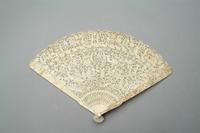 Lace Hand Fan with Carved and Pierced Ivory Monture, 1850