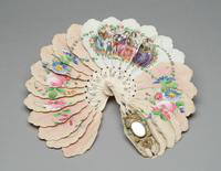 Heavy Paper Fan with Painted Floral Motif and Mirror, 1900