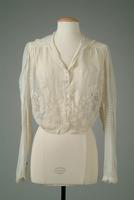 White Cotton Net Blouse with Long Sleeves, 1916