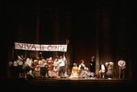 Cheryl Parrish as Susanna, Petteri Salomaa as Figaro, David Jackson as Basilio, Andreas Poulimenos as Count Almaviva, ensemble