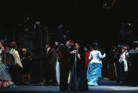 Cesar Hernandez as Rodolfo, Stella Zambalis as Mimi, Ensemble. Cast 1