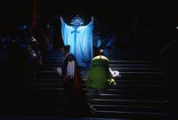 Ealynn Voss as Turandot, Vladimir Popov as Calaf, Peter Blanchet as Pang, ensemble