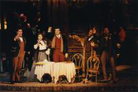 Frank Hernandez as Marcello, Helen Donath as Mimi, Marcello Giordani as Rodolfo, Kevin Short as Colline, Elias Mokole as Schaunard. Cast 1