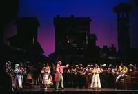 Samia Bahu as Giannetta, Thomas Hammons as Doctor Dulcamara, Janet Williams as Adina, Antonio Sirgusa as Nemorino, and villagers