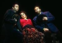 Matthew Tuell as Le Remendado, Irina Mishura as Carmen, Terence Murphy as Le Dancairo. Cast 1