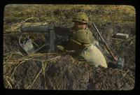 View of Two Soldiers in Trench with Machine Gun