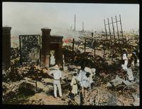 View of People Examining the Ruins of a City