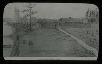 View of a Drawing of Old Fort Saginaw, 1822