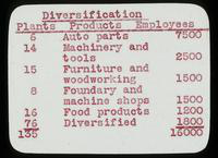 View of Diversification Chart of Plants, Products, and Employees