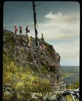 Four People on a Hill on Isle Royale, Michigan