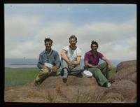 Dennis Cooper (center) and Friends Sitting on Rocks