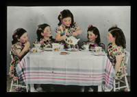 View of the Dionne Quintuplets Enjoying a Tea Party