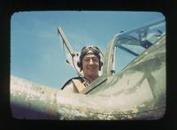 View of Captain Harry Brown in Plane Cockpit