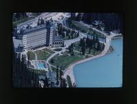 Aeriel view of Lake Louise Resort, Alberta, Canada