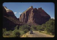 View of a Car Driving Through an Area of the American Southwest