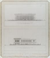 The Detroit Public Library Competition: Rear Elevation; Side Elevation
