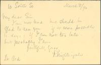 Letter from Florence Nightingale to Dr. Ord about meeting with him that same day