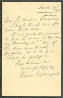Meeting confirmation letter from Florence Nightingale to Sir Lintorn Simmons