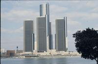 View of the completed Renaissance Center from the Detroit River