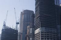 Upper portion of the Renaissance Center towers during construction