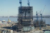 View of early progress on the construction of the Renaissance Center
