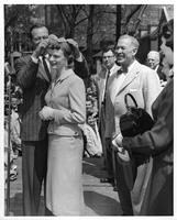 John Wayne visiting campus May 18, 1956, crowned queen.