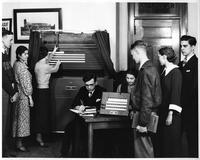 Wayne Univ. Apr 1935; Mock Election in hall of Old Main.